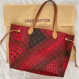 Red Yayoi Kosuma x Louis Vuitton Neverfull mm
